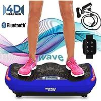 Miweba Sports Fitness 4D Wave Vibrationsplatte MV300 inkl. Armband Fernbedienung - Wave Design - 800 Watt - Bluetooth Lautsprecher - Trainingsbänder - Led - extra große Trittfläche