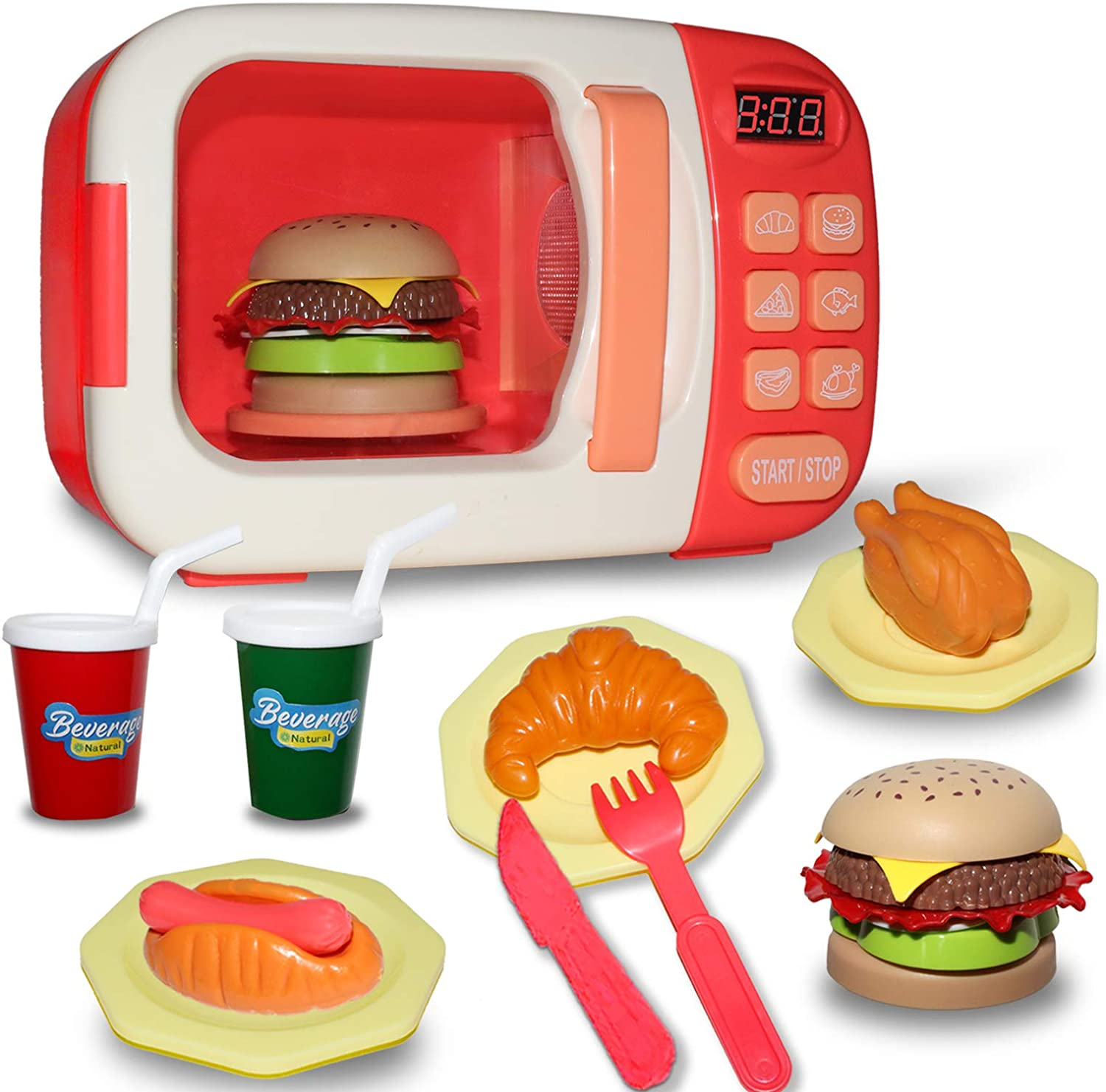 Kitchen toy microwave Play Set,Microwave toy kitchen accessories,Safe and Pretend Accessories Fake Food Educational Awareness Playset with Lights and Sounds for Toddlers Ages 3-12 and Older -RED