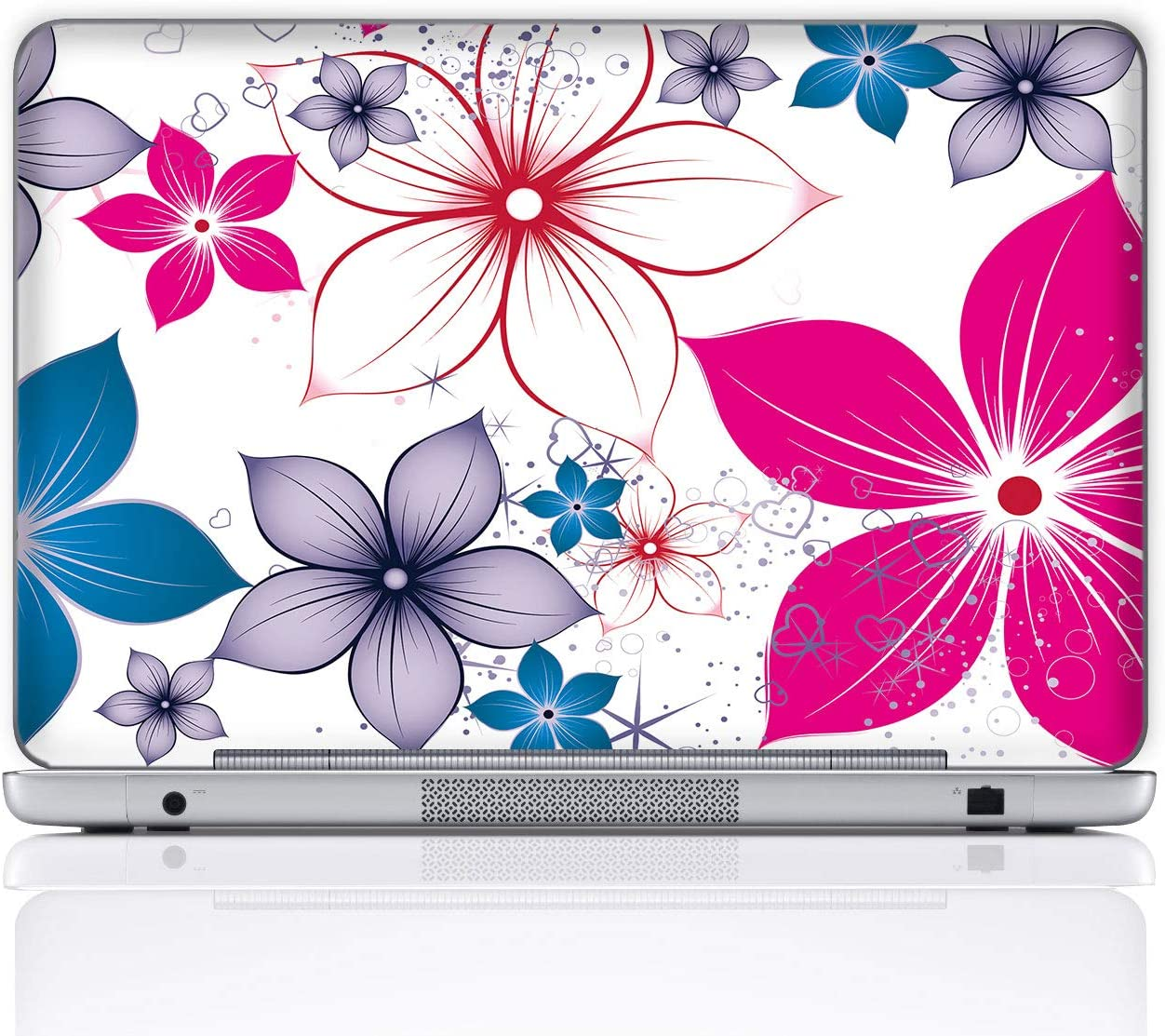 Meffort Inc 15 15.6 Inch Laptop Notebook Skin Sticker Cover Art Decal (Included 2 Wrist pad) - Colorful Flowers
