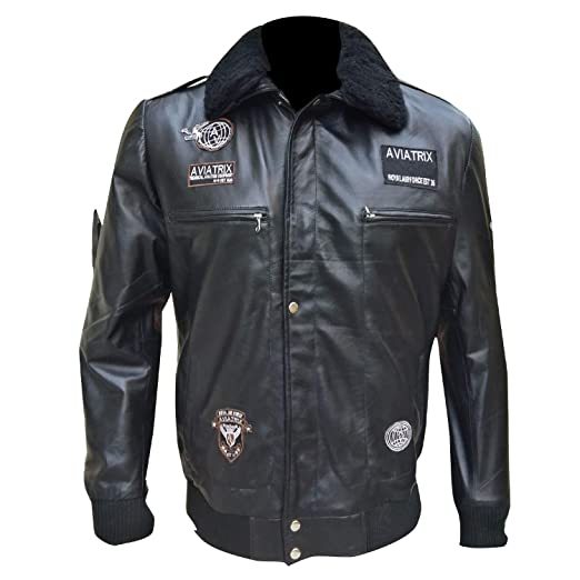 6b9cb524f7d Men s US Air G Force Pilot Star Bomber Flight Military Aviator Black  Leather Jacket 2XS to