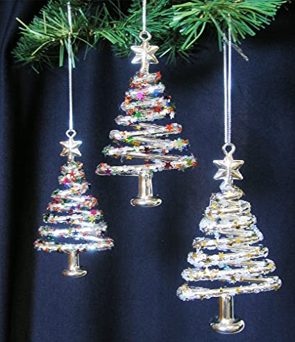 amazoncom banberry designs glass christmas tree ornaments set of 3 xmas trees with stars snowflake glitter glass christmas ornament sets glittery - Cheap Christmas Tree Ornaments