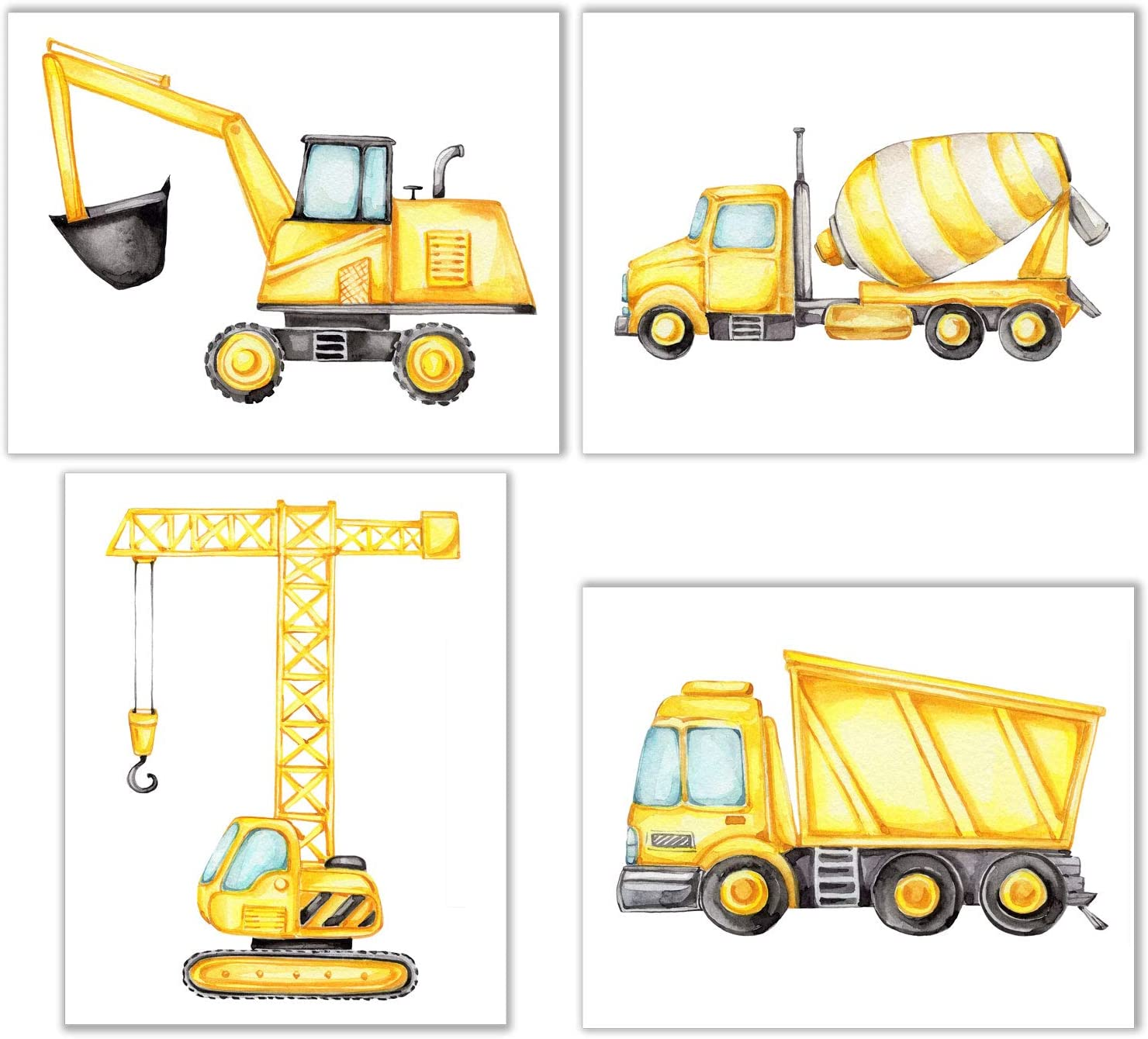 Construction Trucks Wall Decor - Set of 4 (8 inches by 10 inches) Nursery Kids Room Prints