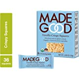 MadeGood Vanilla Crispy Squares, 6 Pack (36 count); Crunchy Rice with Smooth Rich Vanilla; Contains Nutrients of One…