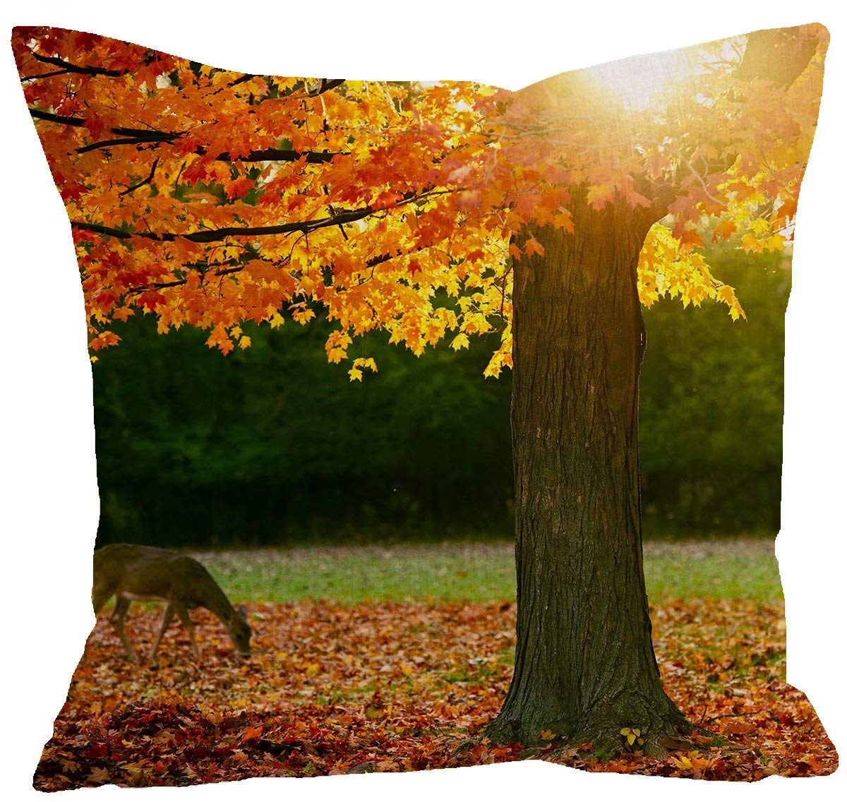 ShineSnow 2-Pack Set of 2 Autumn Tree Maple Fall Leaves Golden Sunlight Seasonal Throw Pillow Cushion Cover Case 18 x 18 Cotton Linen Square Zippered Pillowcase for Sofa Bed Home Decor