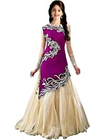 Market Magic World Kid's Girl Velvet Semi-Stitched Ethnic Salwar suit Dresses (Free Size_8-12 Year_Purple_212)