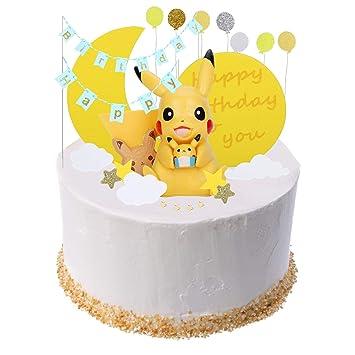 Colmanda Cake Topper Kit, Pokemon Cupcak Toppers Decoración Tarta de Cumpleaños Decoración De Pastel con Muñeca Pikachu para Pastel Fiesta Boda y ...