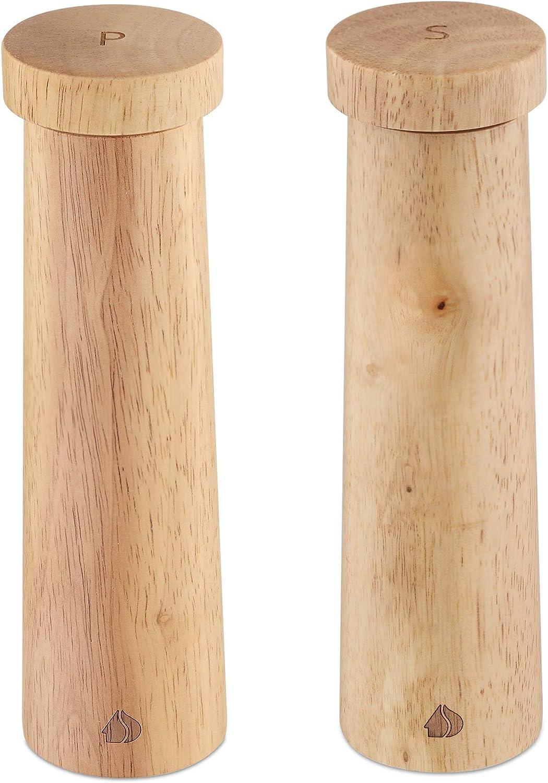 Navaris Salt and Pepper Mill Set - Adjustable Rubber Wood Salt and Pepper Grinders Shakers with Ceramic Grinding Core for Home, Restaurants - Design 1