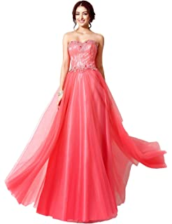 Sarahbridal Women Ball Gowns Strapless Long Prom Dress Tulle Wedding Party Dresses with Sequins for Teenagers