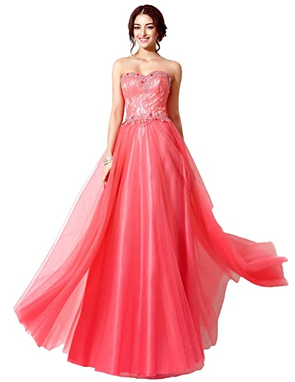 Sarahbridal Ball Gowns Evening Dresses for Women A Line Long Tulle Party Prom Dress with Sequins