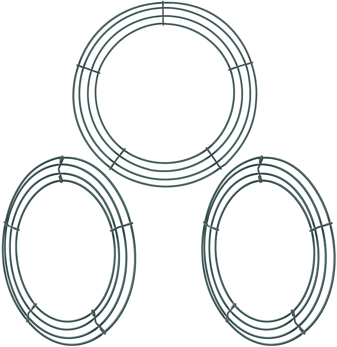 Elcoho Confezione da 2 anelli in filo metallico a forma di corona con filo verde per fiori e decorazioni per la casa e le feste