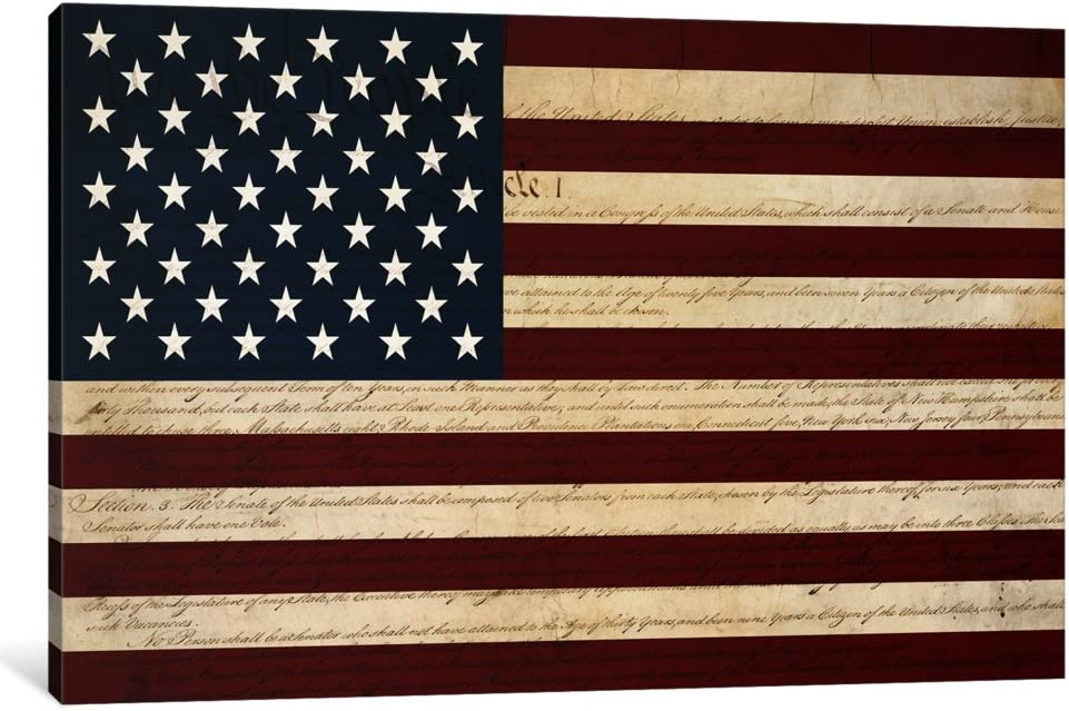 iCanvasART Cheap mail order shopping 1 Piece Us Constitution Flag Max 88% OFF Print Canvas - American
