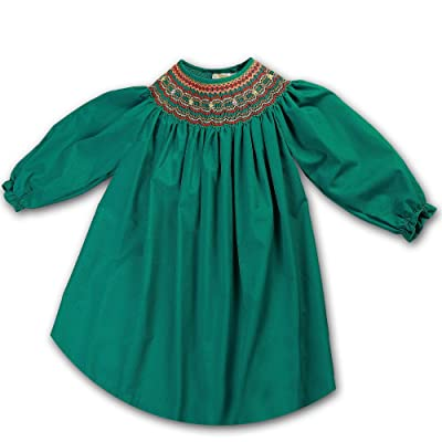 Rosalina Little Girl's Laura Green Smocked Long Sleeve Bishop