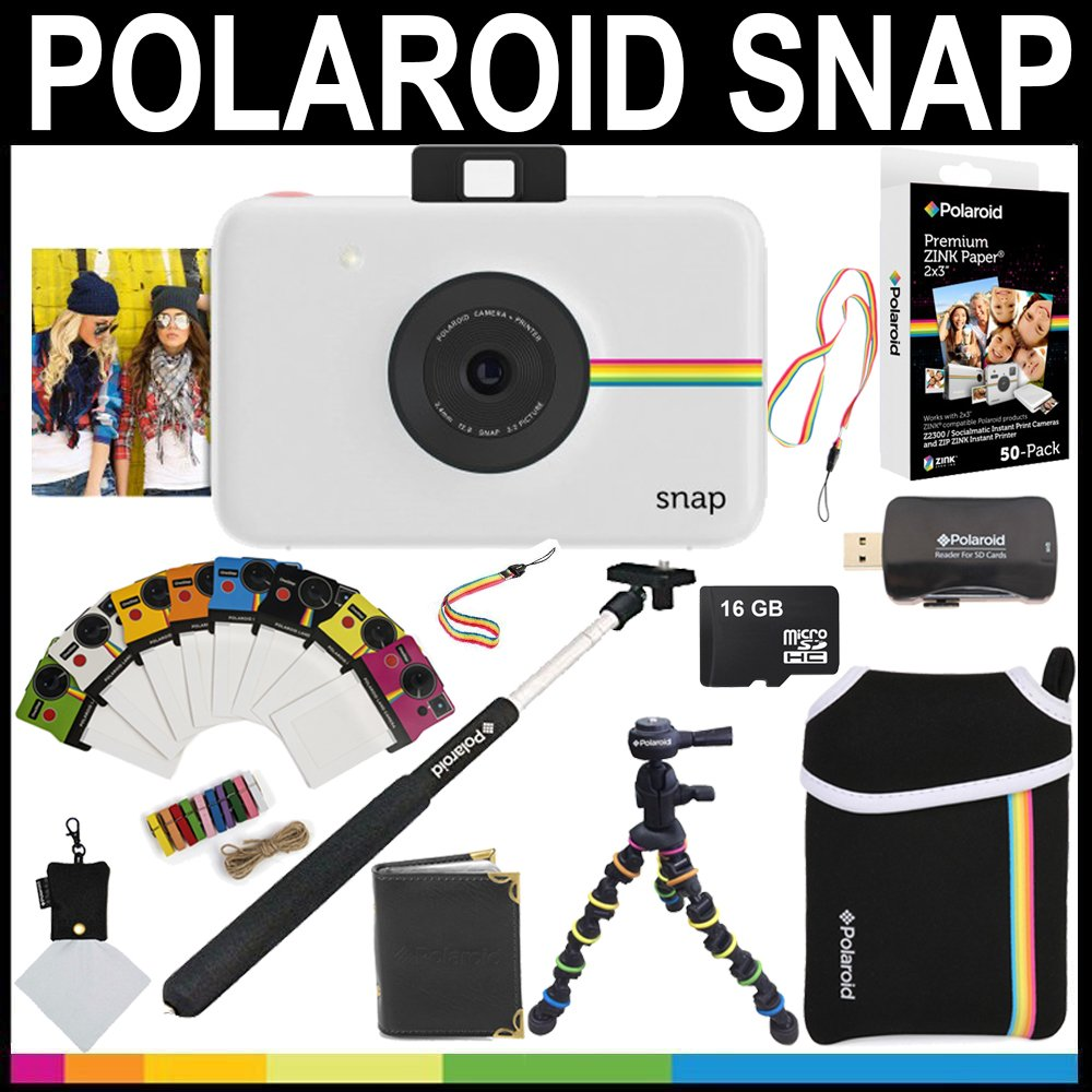 Polaroid Snap Instant Camera (White) + 2x3 Zink Paper (50 Pack) + Neoprene Pouch + Selfie Pole + Photo Frames + Photo Album + 16GB Memory Card + Accessory Bundle by Polaroid