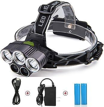 LED Head Lamp, TKSTAR linterna frontal LED Cabeza lámpara 5000 Lux lámpara LED Headlights frente con 5 luces Luz 6 Modos faros de escalada camping ...
