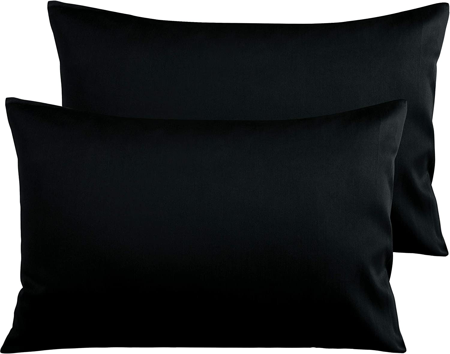 NTBAY 500 Thread Count Cotton Queen Pillowcase, Super Soft and Breathable Envelope Closure Pillow Case, 20 x 30 Inches, Black