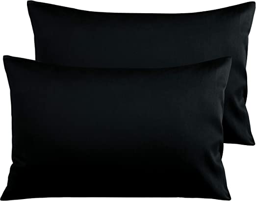 4 BLACK PILLOW CASES 200 THREAD COUNT STD SIZE BRAND NEW BLACK  NEW in package