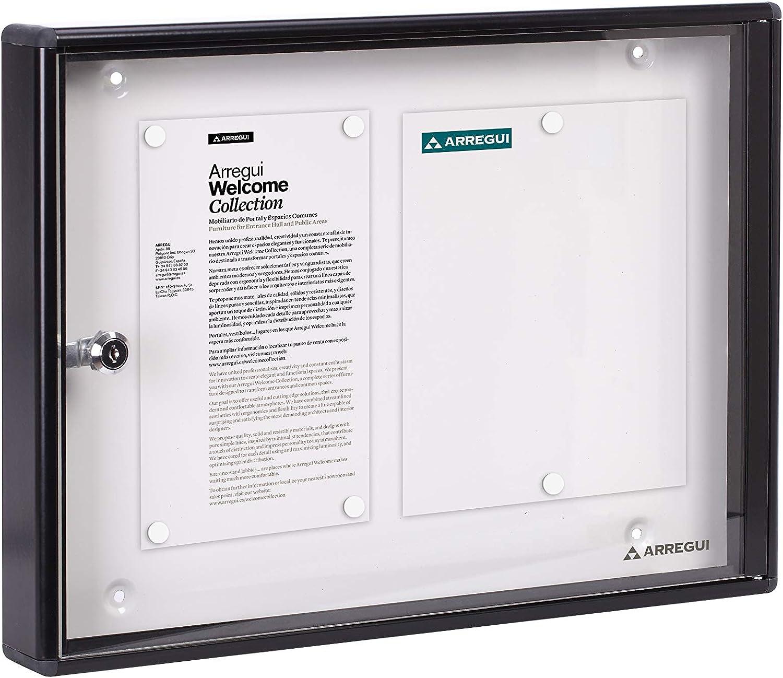 Arregui PAN44 Panel de Anuncios de aluminio y metacrilato para 2 hojas DIN A4, negro