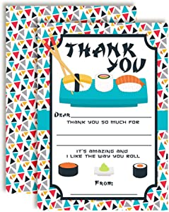 Let The Good Times Roll Sushi-Themed Thank You Notes, Ten 4