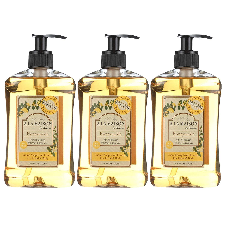 A La Maison de Provence Liquid Soap Honeysuckle, 16.9 Fl Oz (Pack of 3)