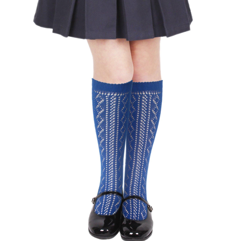 Girls back to school cotton rich Pelerine knee high socks scallop top
