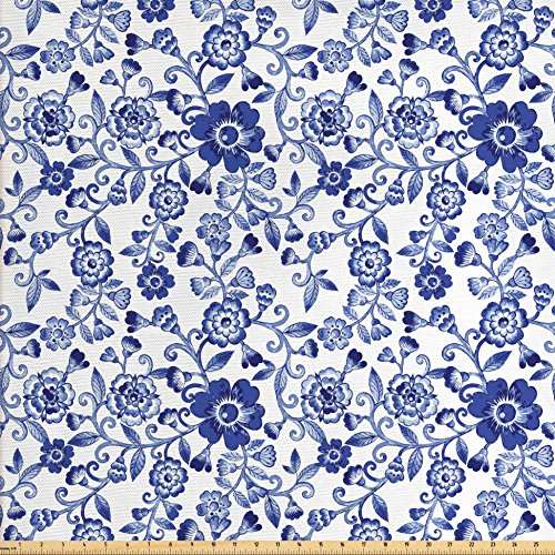 [Floral Fabric by the Yard by Ambesonne, Swirl Flower Pattern Folk Russian Folk Cultural Petals Artistic Ornamental Image, Decorative Fabric for Upholstery and Home Accents, Blue] (Russian Costume Pattern)