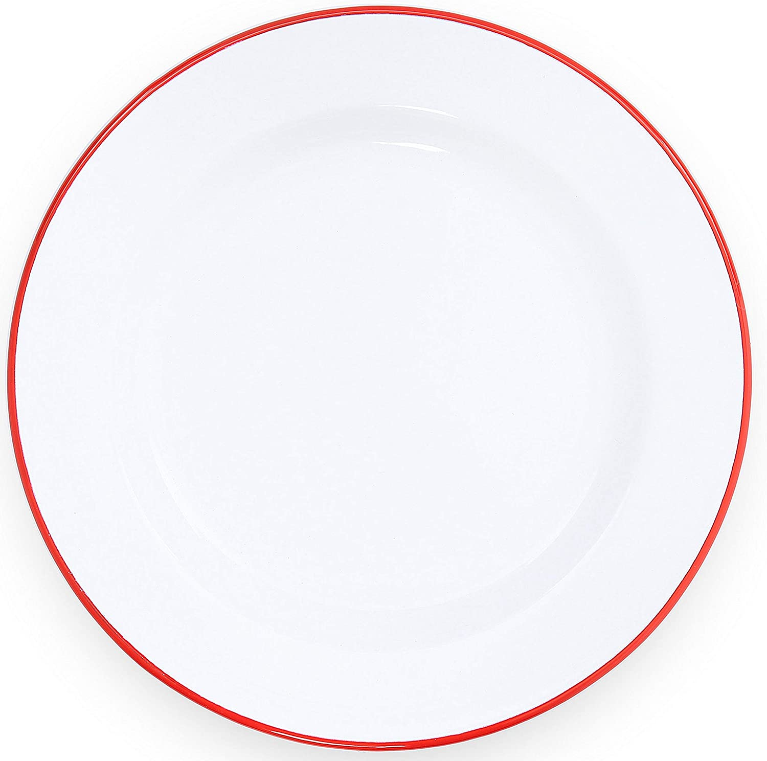 Enamelware Dinner Plate, 10.25 inch, Vintage White/Red (Single)