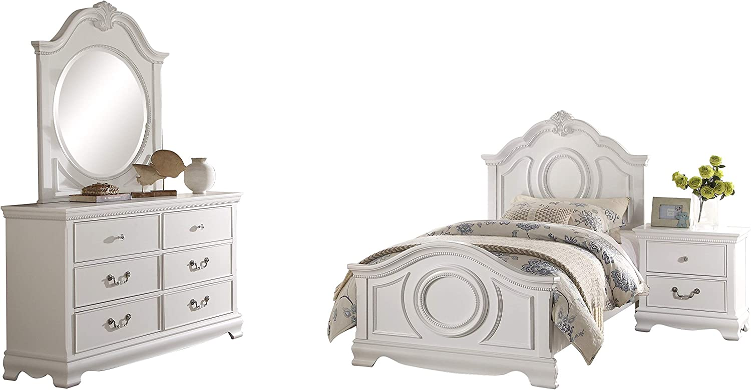 Amazon Com Libby Girls Cottage 4pc Bedroom Set Twin Bed Dresser Mirror Nightstand In White Furniture Decor