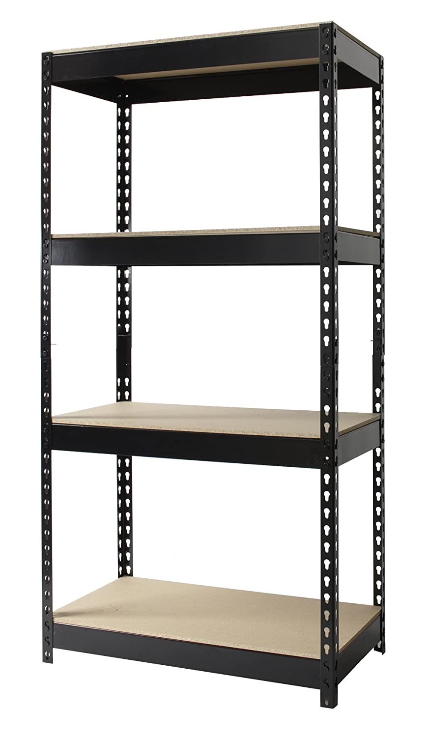 amazoncom hirsh industries steel 4shelf unit 30 by 16 by 60inch black kitchen u0026 dining