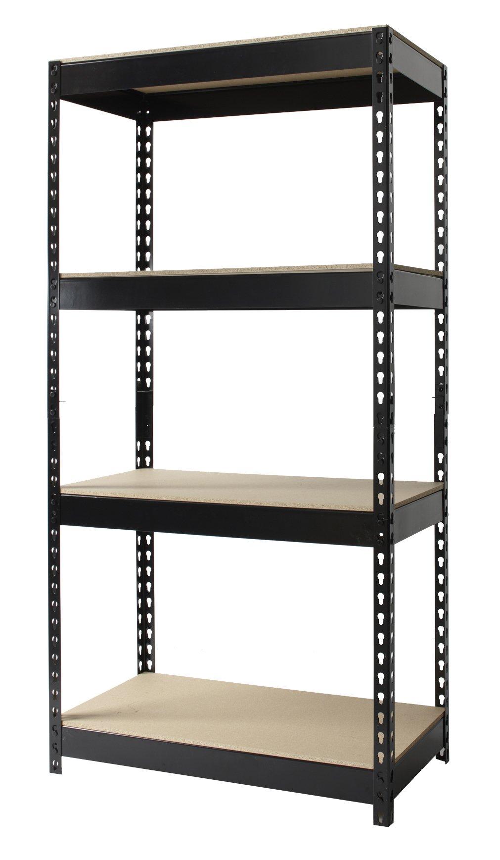 Hirsh Industries Office Dimensions Riveted Steel Shelving 4-Shelf Unit, 30'' W x 16'' D x 60'' H, Black