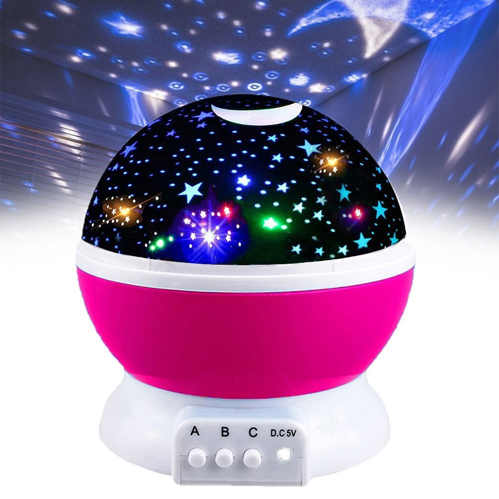 2-10 Year Old Girl Gifts, Hove Starry Night Light 360 Degree Rotation Christmas Top Best Popular Toys for 2-10 Year Old Girls Pink FDUSNL03