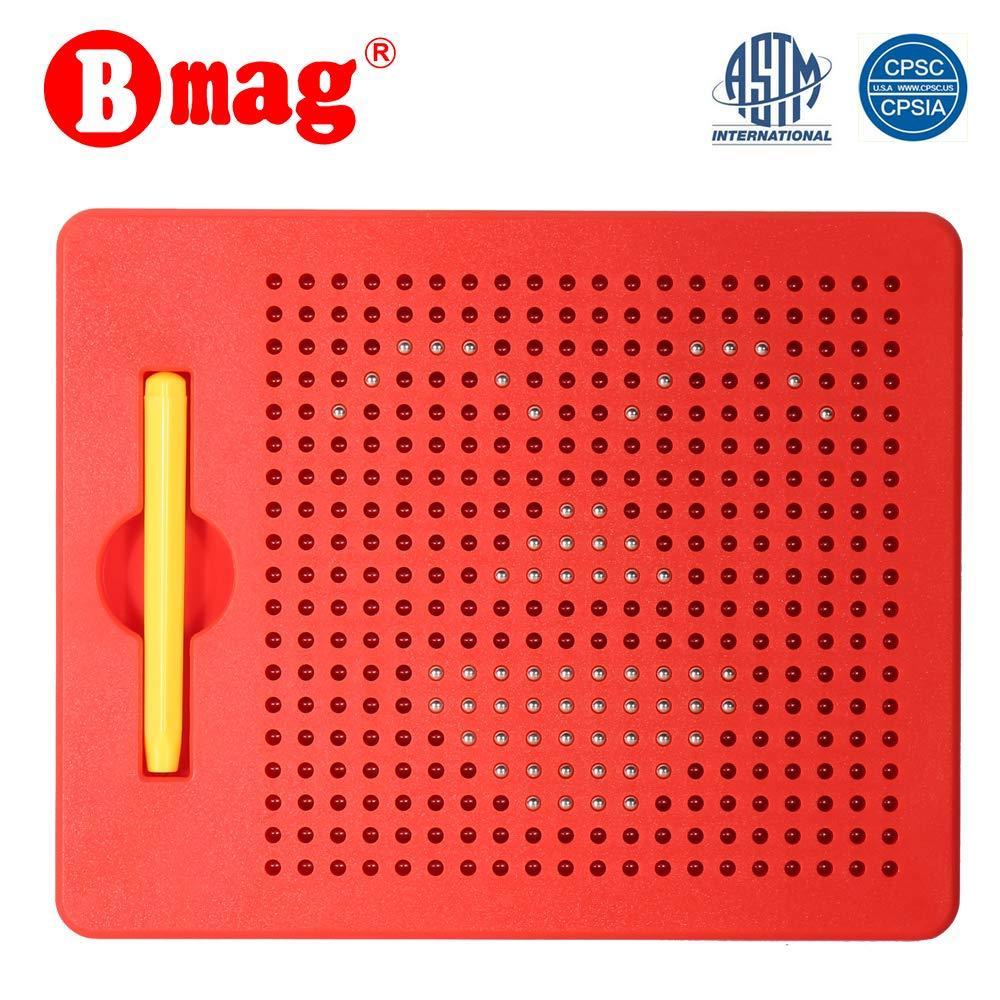 BMAG Magnetic Drawing Tablet, Educational Free Flay Doodle Board Magnatab Toys (red, 380 Ball pops)