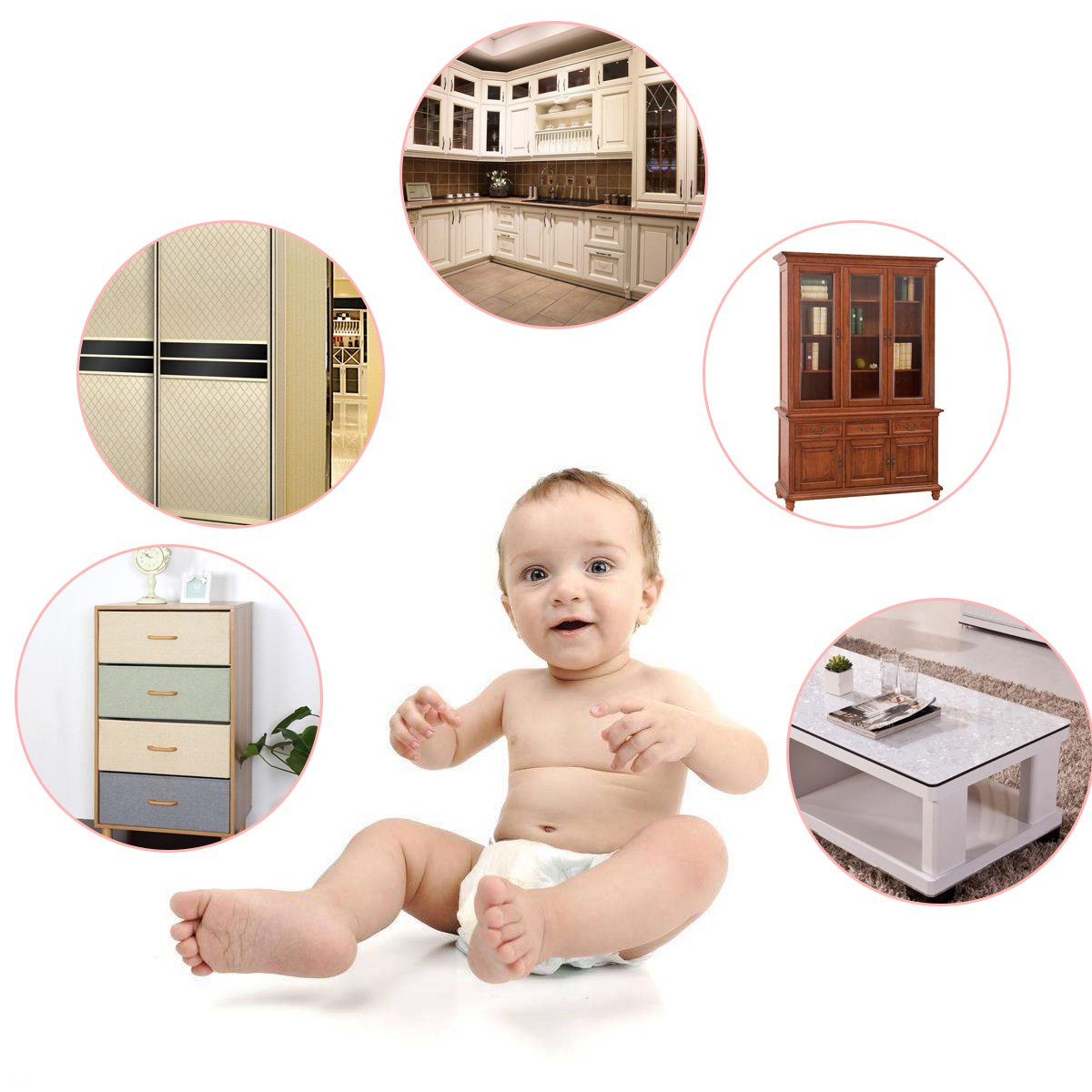 10 Pack Child Satety Locks Baby Safety Cabinet Door Fridge Drawer Appliances Cupboard Locks +20 Pack Corner Protector Baby Safety Proof Corner Guards Against Sharp Corners by Tonifa by Tonifa (Image #4)