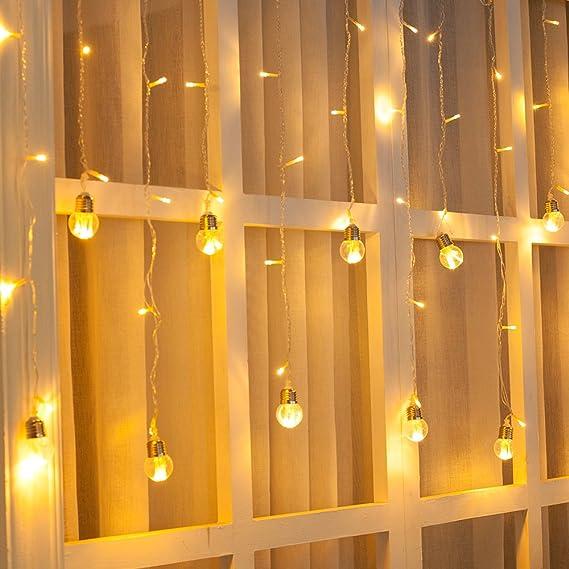 Ustellar 3m LED Lichtervorhang, 108 LEDs Lichtvorhang mit 12 Kugeln, 8 Modi Warmweiß Lichterkette, Dekolicht für Innen Weinac