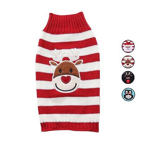 4 Patrones de punto suéter de perro, renos lindos ropa de vacaciones prendas de vestir