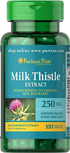 Puritans Pride Milk Thistle Standardized 250 Mg Silymarin Capsules, 100 Count
