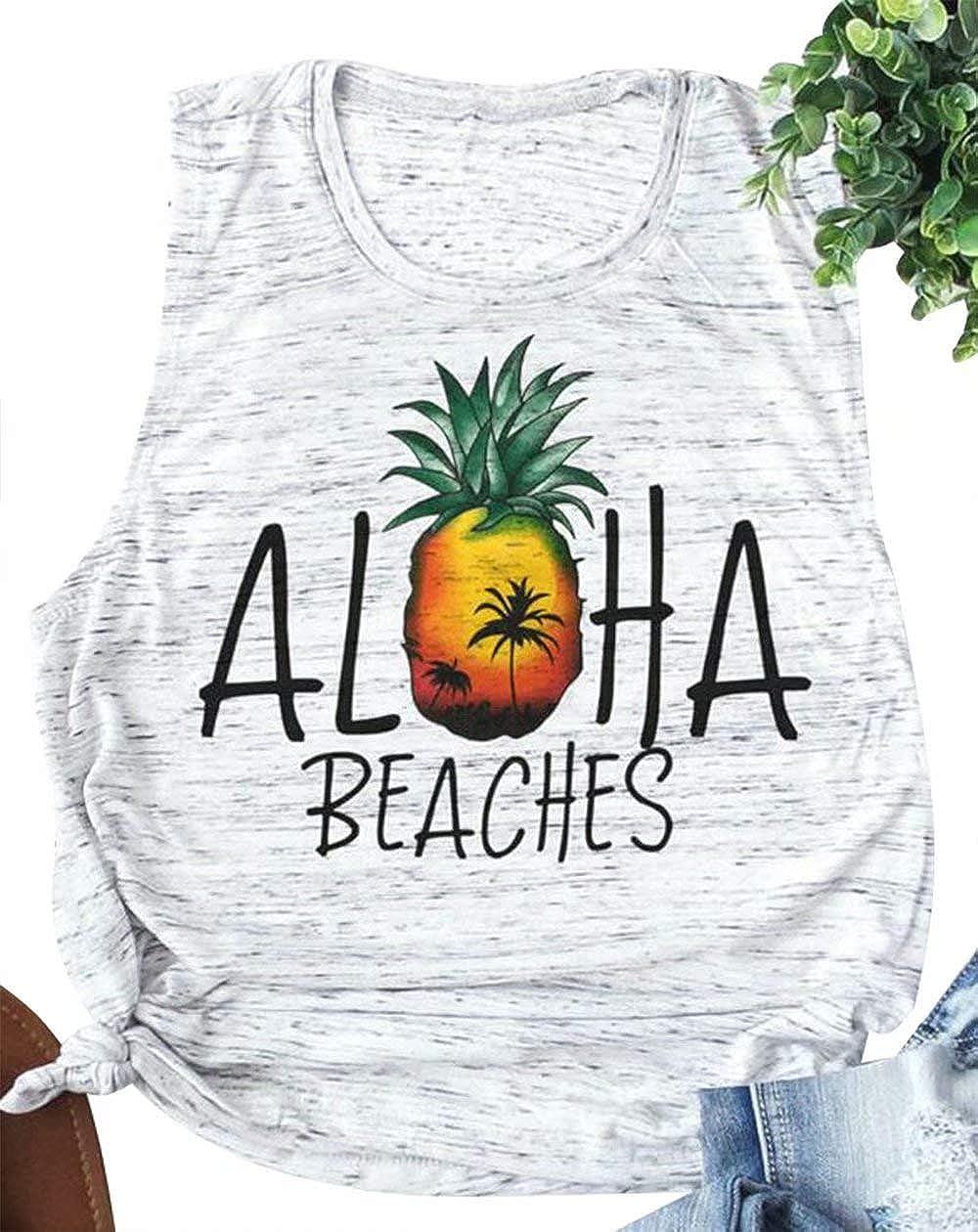 Aloha Beaches Tank Tops Bachelorette Party Pineapple Print Vest Hawaiian Shirt for Women