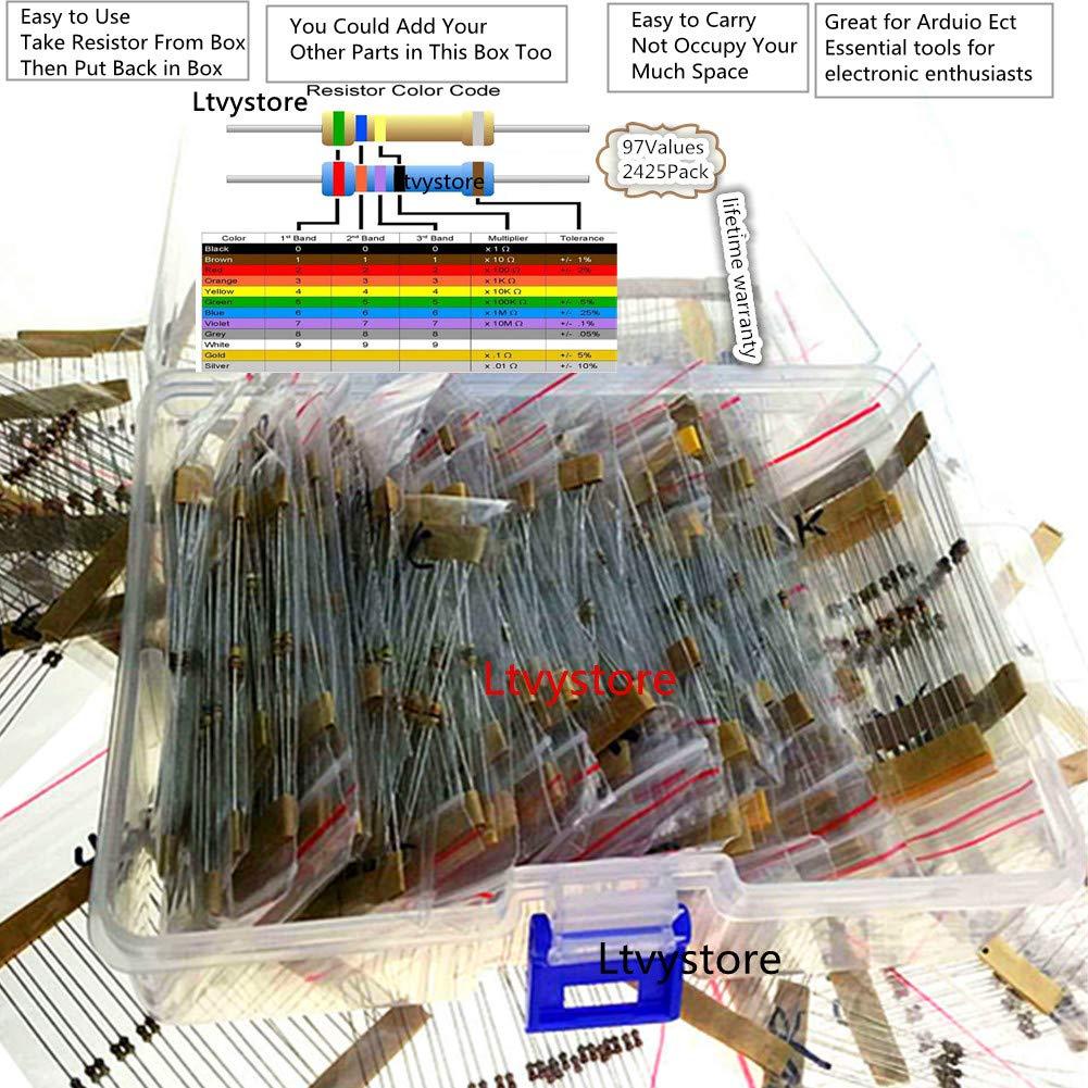 1 8w Resistors Kit Ltvystore Resistor Assortment Metal Electronics Color Codes 4 Carbon Film 97 Values Ohm 1m Pack Assorted 8 Watt 5 Resistance