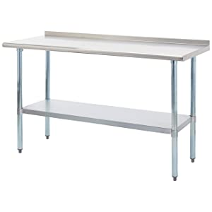 Rockpoint Carmona Tall NSF Stainless-Steel Commercial Kitchen Work Table with Backsplash and Adjustable Shelf, 60 x 24 Inch