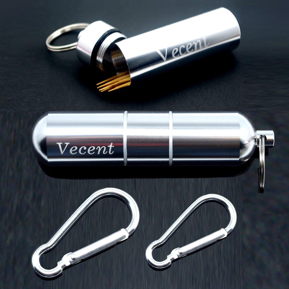 Vecent Portable Toothpick Holder All Purpose Mini box Waterproof Toothpick Box Pocket Metal Pill Case Key chain Cotton Swab Box Earphone box (3 IN) COMIN18JU078295