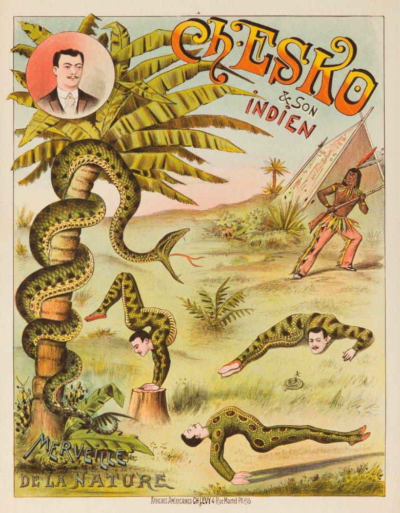 Ch Esko et son IndienヴィンテージポスターフランスC。1887 36 x 54 Giclee Print LANT-63361-36x54 B01MPVRJWB  36 x 54 Giclee Print