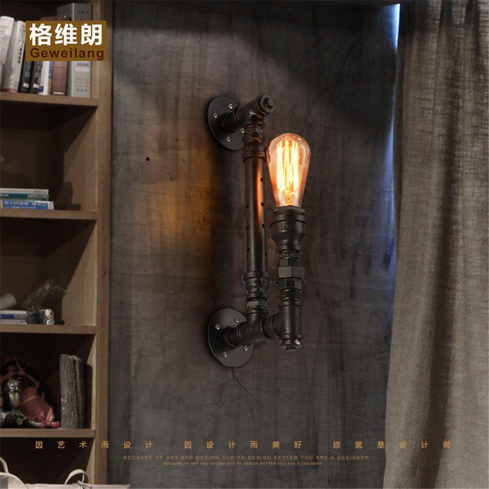 DengWu lampada da parete Retrò American industrial wind bar creatività scala corridoio LOFT cafe ristorante acqua tubi di ferro di personalità luci da parete (1651cm)