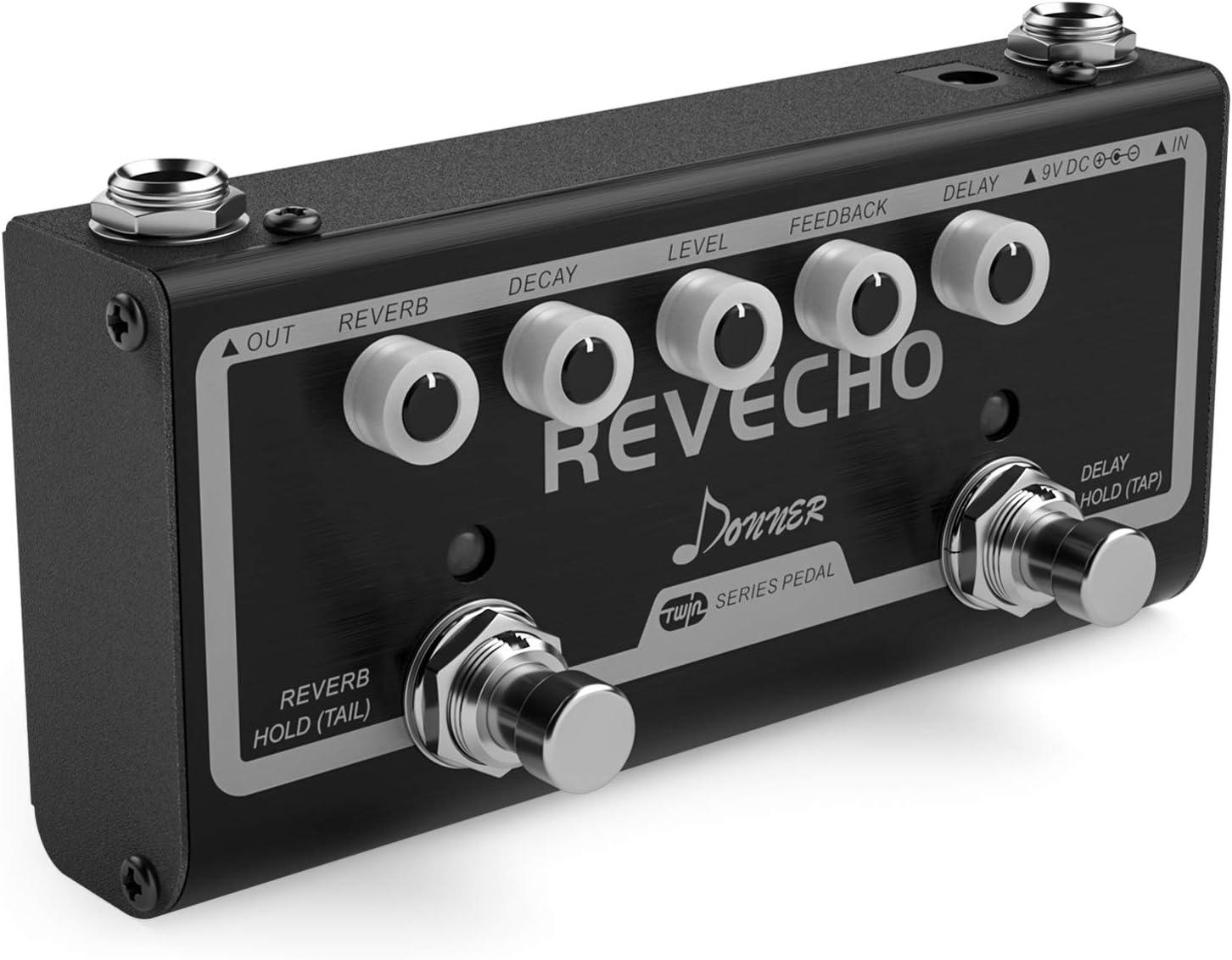 Donner Revecho Pedal de efectos de guitarra 2 modos de retardo y reverberación Pedal