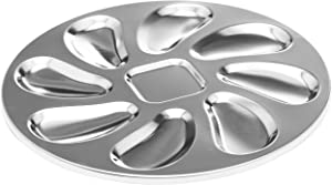 2 Pack Stainless Steel Oyster Pan, Oyster Shell Shaped Oyster Plate