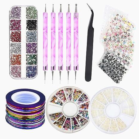 Ambrose - Juego de 20 pegatinas para uñas, 3 cajas de colores para decorar brillantes