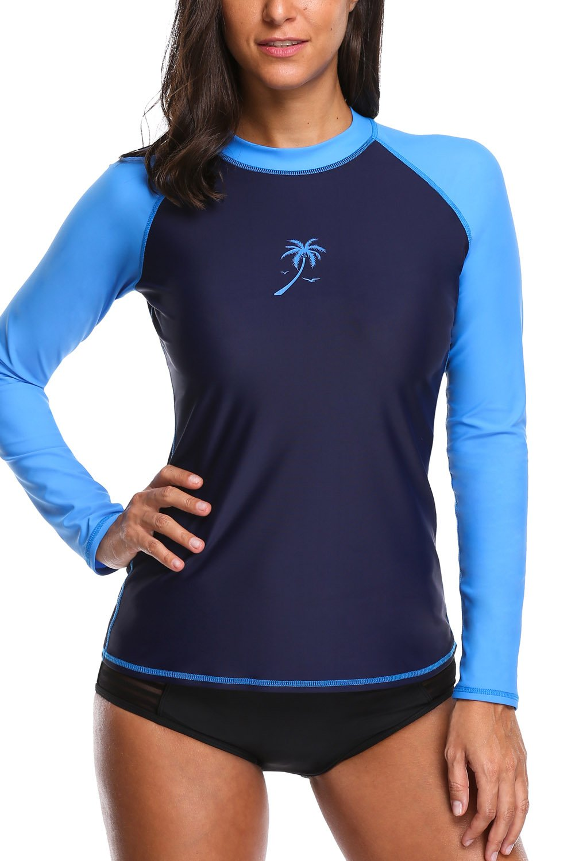 Vegatos Womens UV Rash Guard Shirt Long Sleeve Sports Training Swimsuit Swimwear Top L by Vegatos (Image #1)