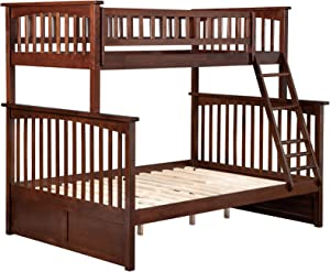 Atlantic Furniture Columbia Bunk Bed, Twin/Full, Walnut