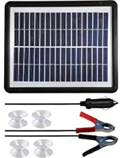 Sunway Solar 6W Car Battery Trickle Charger Multi-Function 12V Battery Maintainer For RV Truck With 5V USB Port For Portable External Battery Charger Power Bank,Android Cellphones (6W Solar Charger)