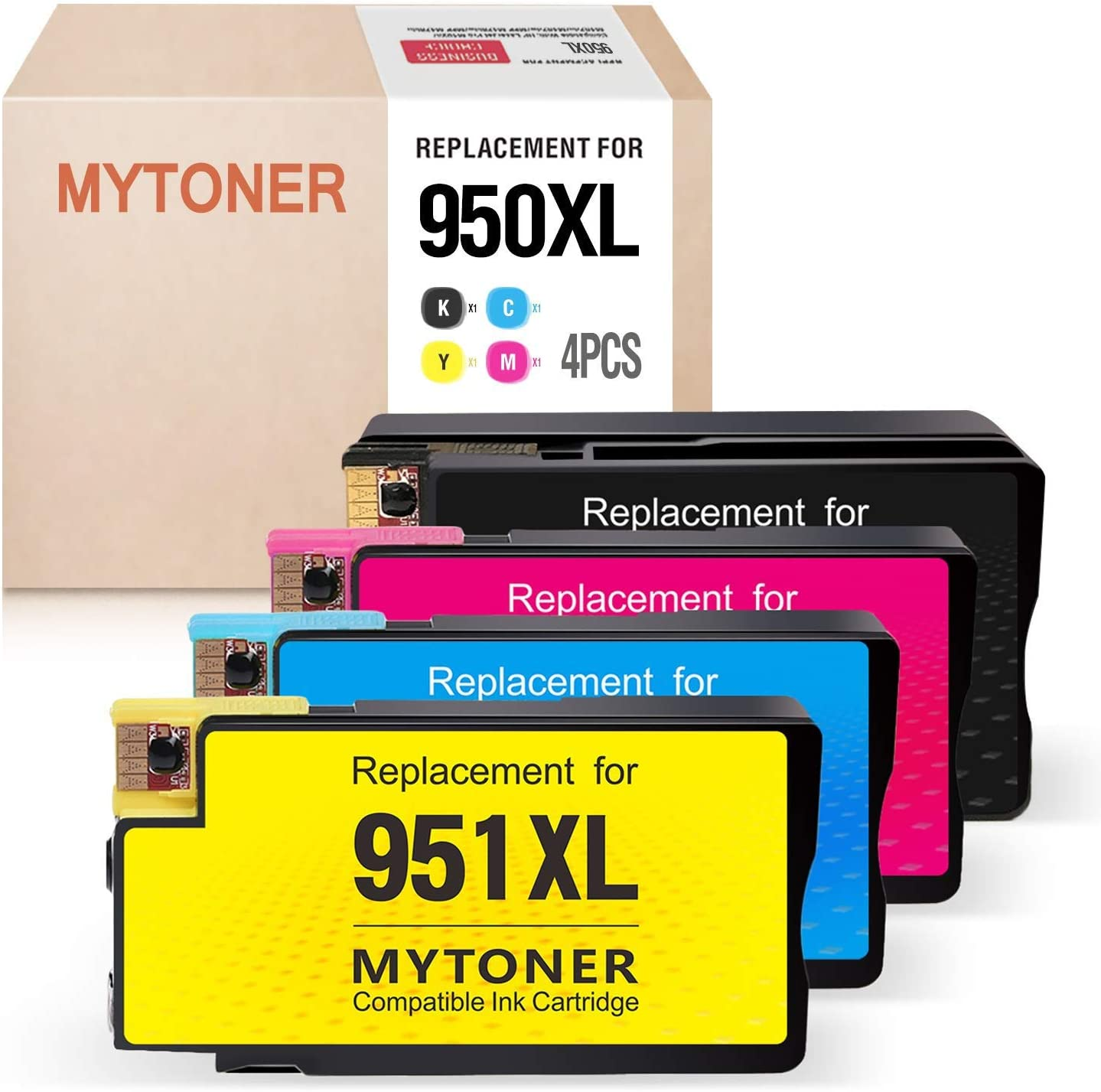 MYTONER Compatible Ink Cartridge Replacement for HP 950XL 951XL 950 XL 951 XL Ink for Officejet Pro 8100 8600 8610 8615 8620 8625 8630 8640 251dw High Yield (Black Cyan MagentaYellow, 4-Pack)
