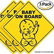"Baby on Board Sticker Sign (3 pack), Baby board, baby car sticker, baby car decal, baby announcement board, US Department of Transportation recommend color & shape,kid safety, 5""by5"" By Innovative Bay"