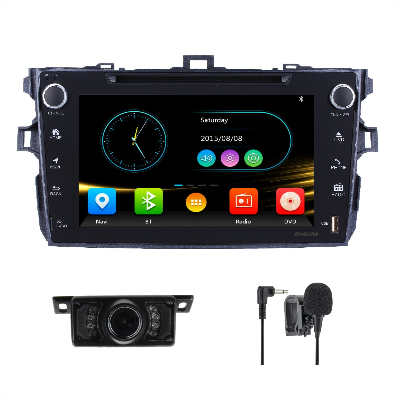 Amazon.com: Car GPS stereo for Toyota Corolla 2007-2013 8 Inch Double Din  Touch Screen Car DVD Player FM AM Radio Bluetooth SWC with Backup camera  Mic: GPS ...